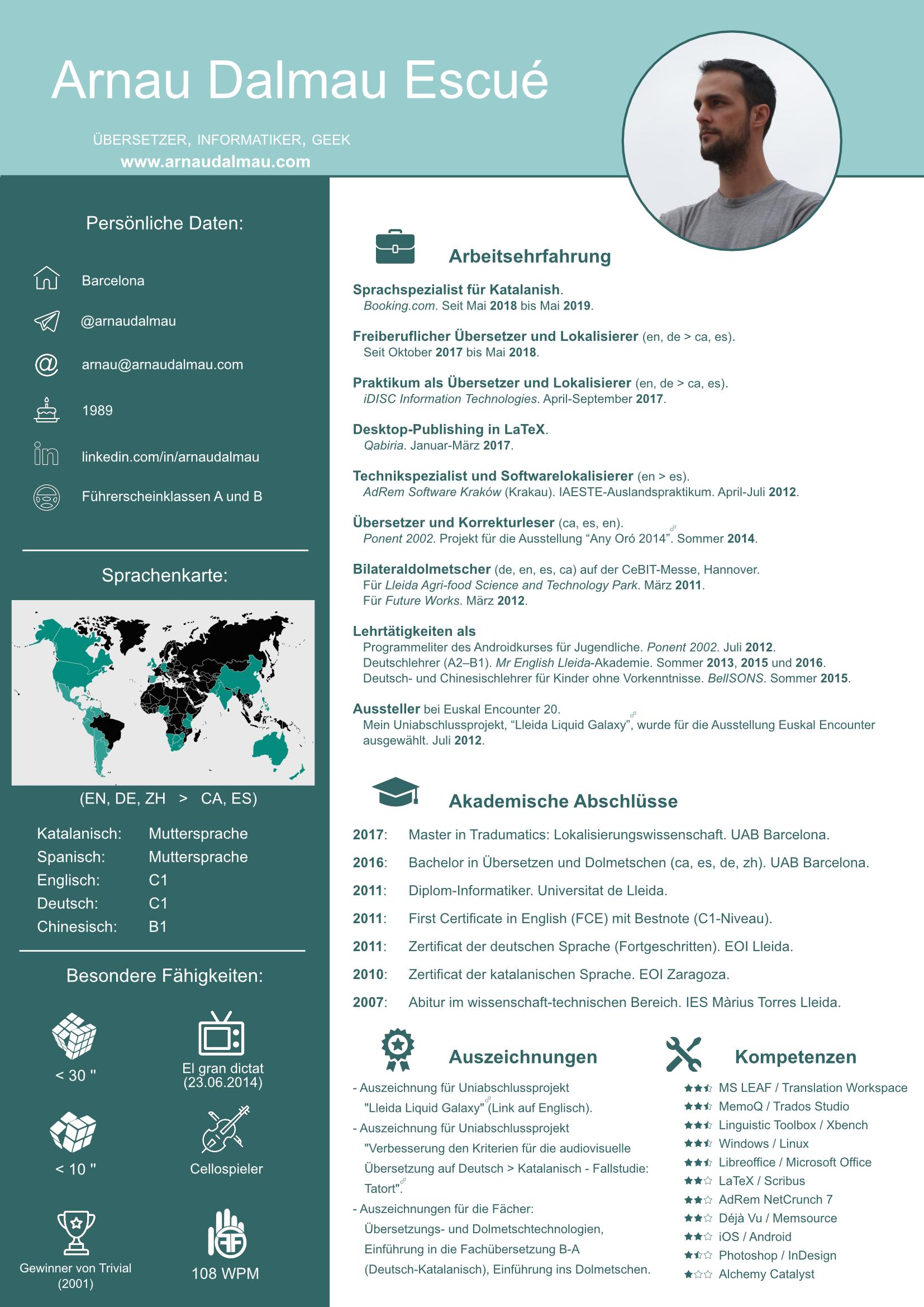 CV Arnau Dalmau - Übersetzer und DTP Experte auf Deutsch, Englisch, Katalanisch und Spanisch